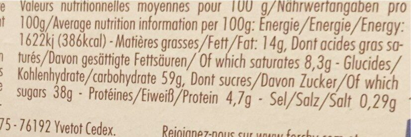 Et.4 Tranches Cake Fruits Pur Beurre 275G Forchy - Nutrition facts - fr
