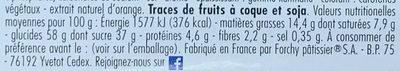 Cake aux fruits aux cerises de Provence - Informations nutritionnelles