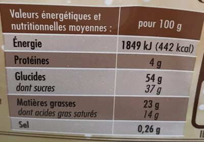 Bûche pur beurre Cacao - Nutrition facts