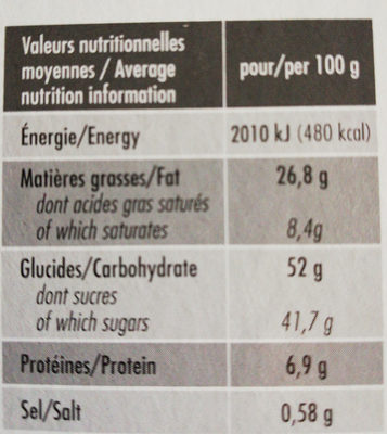 Forchy Brownie De Chocolate Con Speculoos - Nutrition facts