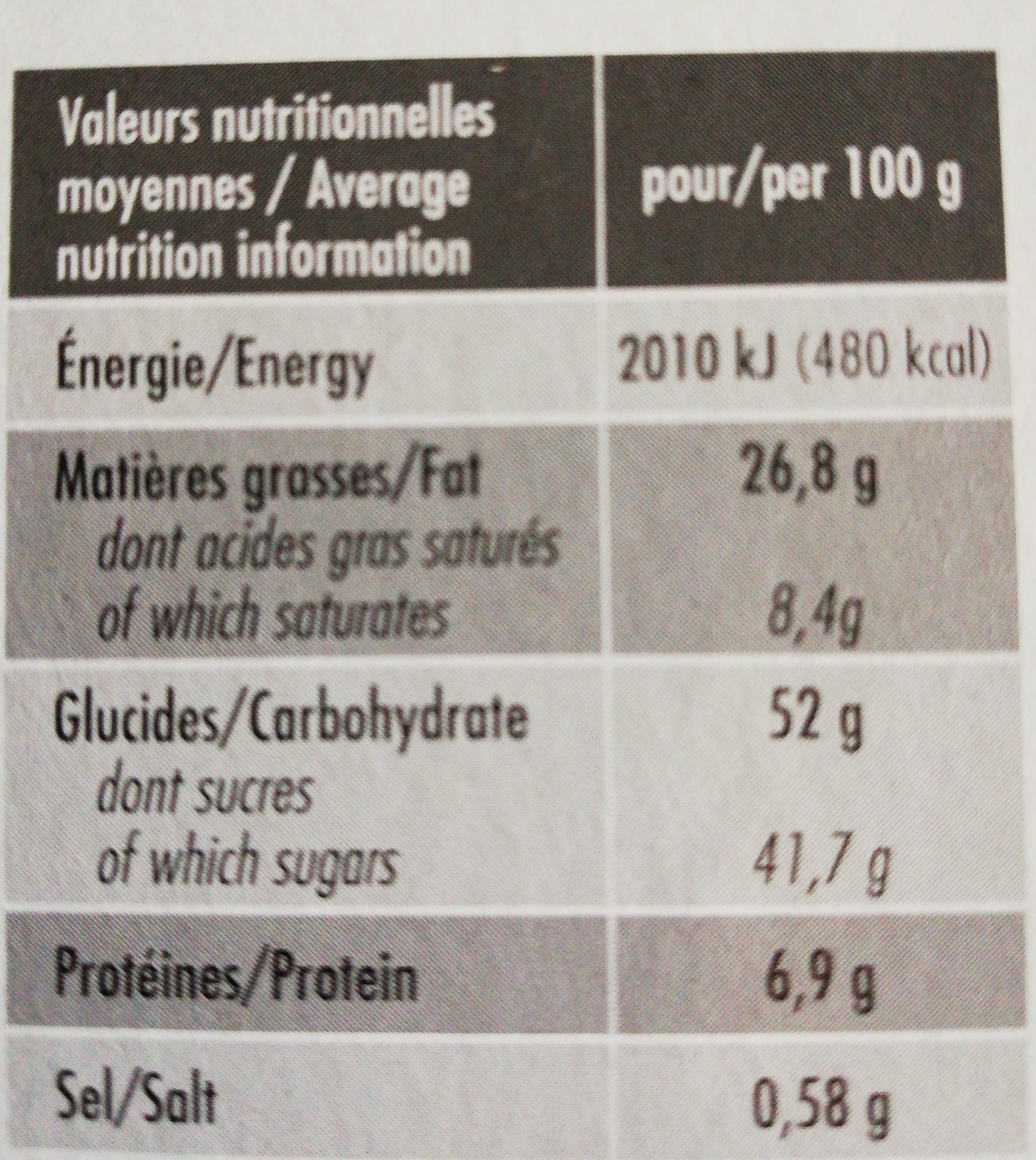Forchy Brownie De Chocolate Con Speculoos - Nutrition facts - fr