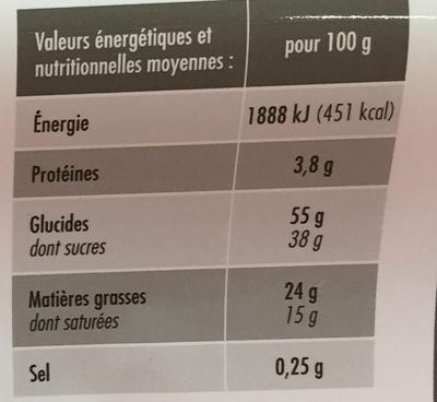 Bûche pâtissière cacao - Informations nutritionnelles - fr
