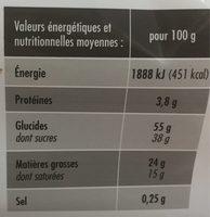 La Bûche pâtissière parfum vanille - Nutrition facts