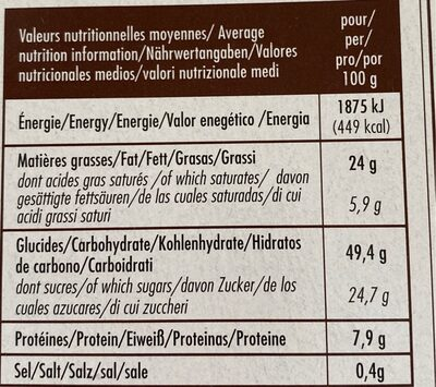 Moelleux matcha bio - Nutrition facts