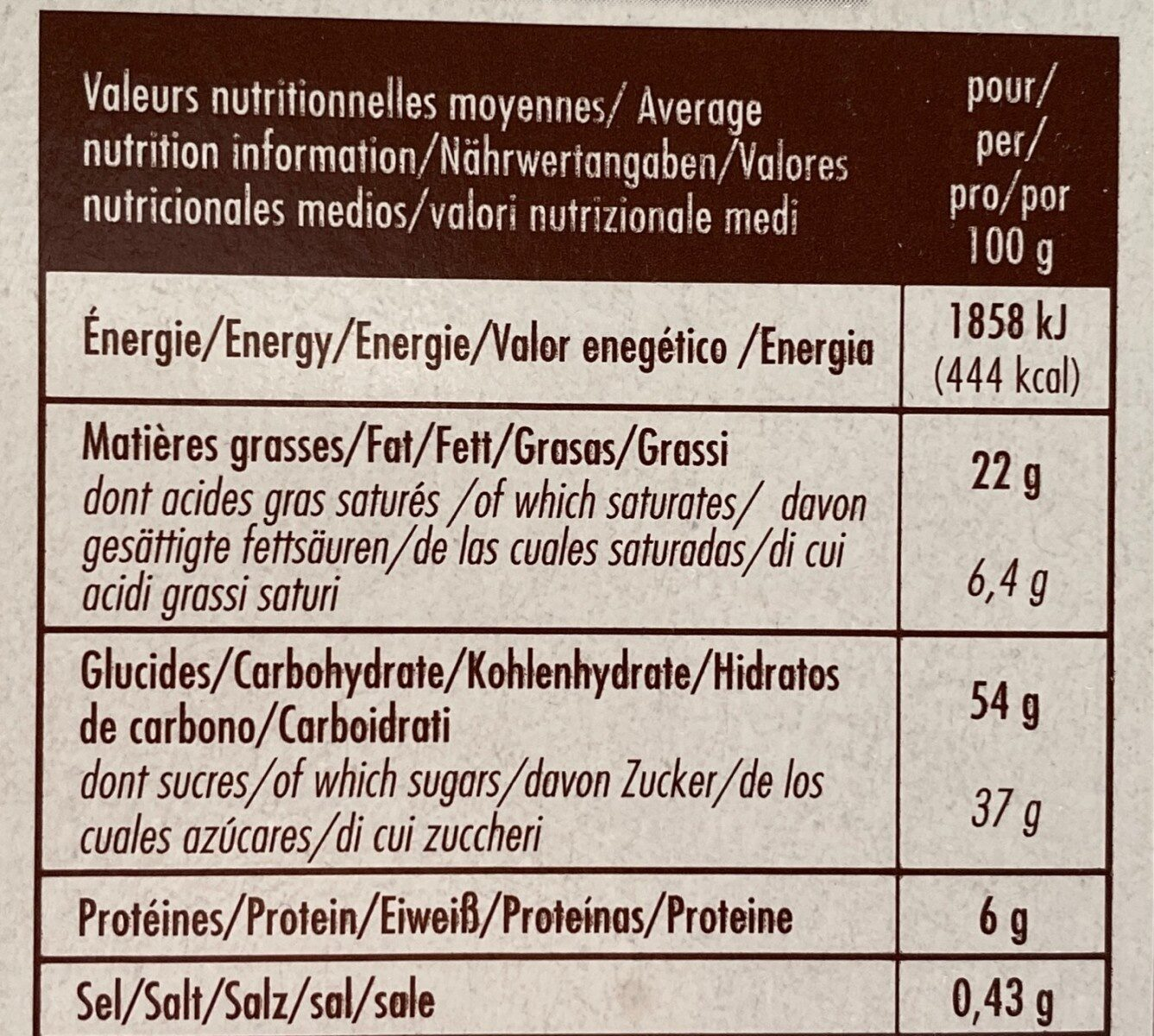 Brownie bio forchy - Nutrition facts - fr