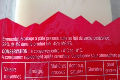 Emmental tranchettes - Ingredientes