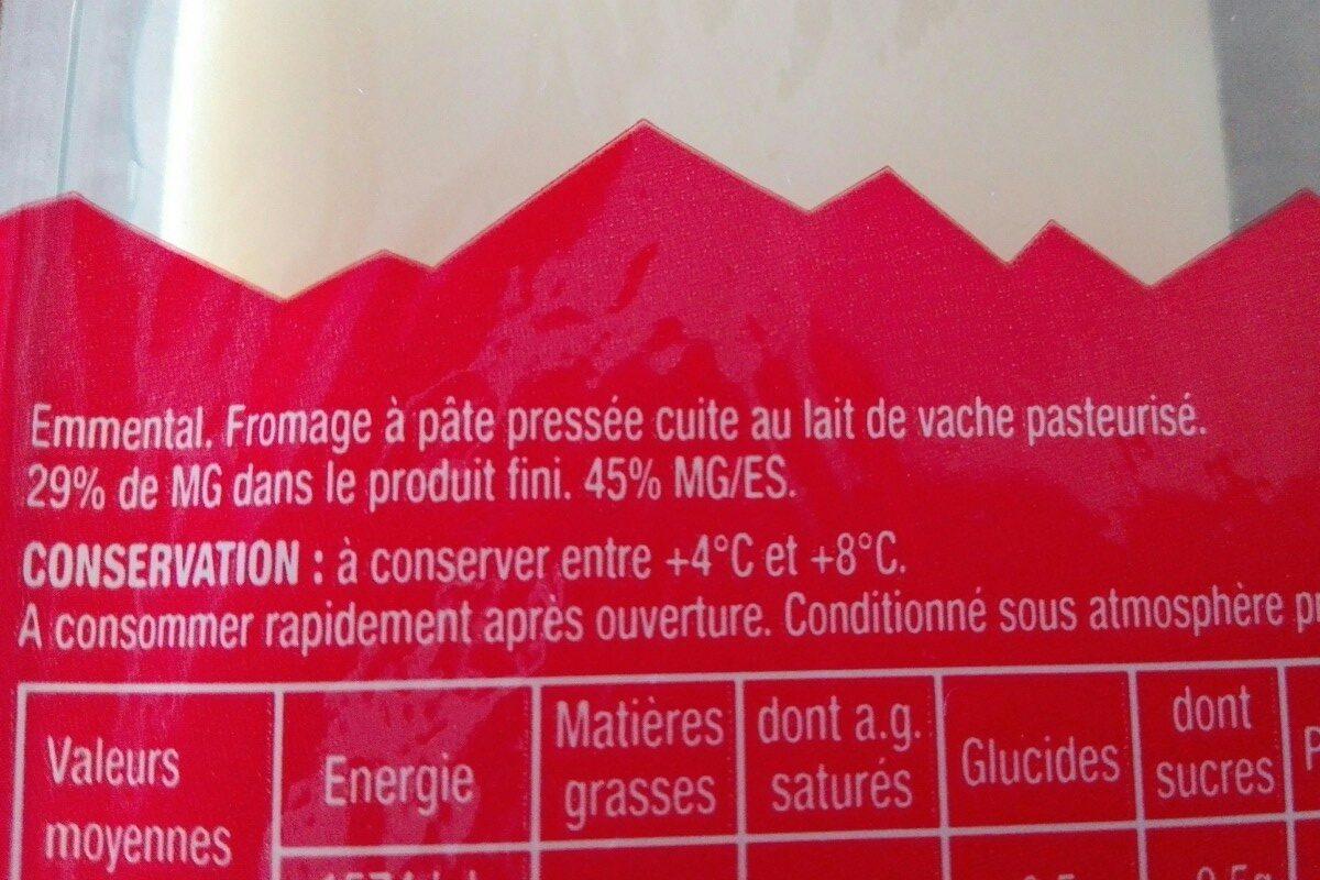 Emmental tranchettes - Ingredientes