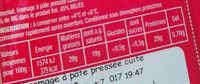 Emmental tranchettes - Información nutricional