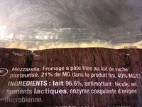 Mozzarella cosette - Ingredientes