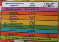 Nectar Tropical - Informations nutritionnelles - fr