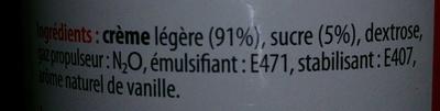 Crème fouettée légère - Ingrédients - fr
