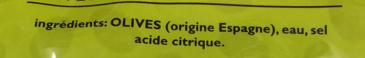 Olives vertes dénoyautées - Ingredients