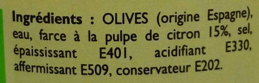 Olives vertes farcies à la pulpe de citron - Ingrediënten