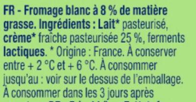Fromage blanc Bibeleskaes nature 8% MG - Ingrédients - fr