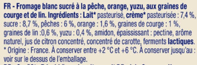 Fromage blanc pêche agrumes aux 2 graines - Les Instants Nature - Ingrédients - fr