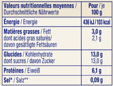 Fromage blanc pêche agrumes aux 2 graines - Les Instants Nature - Informations nutritionnelles - fr