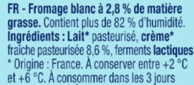 Fromage blanc nature 2,8% MG - Ingrédients - fr