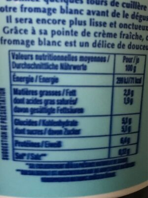 Fromage blanc nature 2,8% MG - Informations nutritionnelles - fr