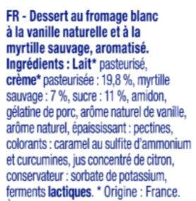 Dessert Au Fromage Blanc à la vanille naturelle sur Lit de myrtilles sauvages - Ingredients - fr