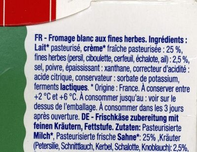 Fromage Blanc aux fines herbes - Ingredients