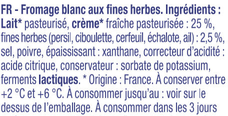 Fromage Blanc aux fines herbes - Bibeleskaes - Ingrediënten