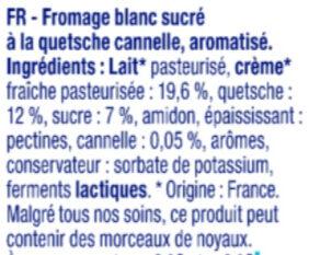 Bibeleskaes sur Lit de Quetsches Cannelle - Ingrédients - fr