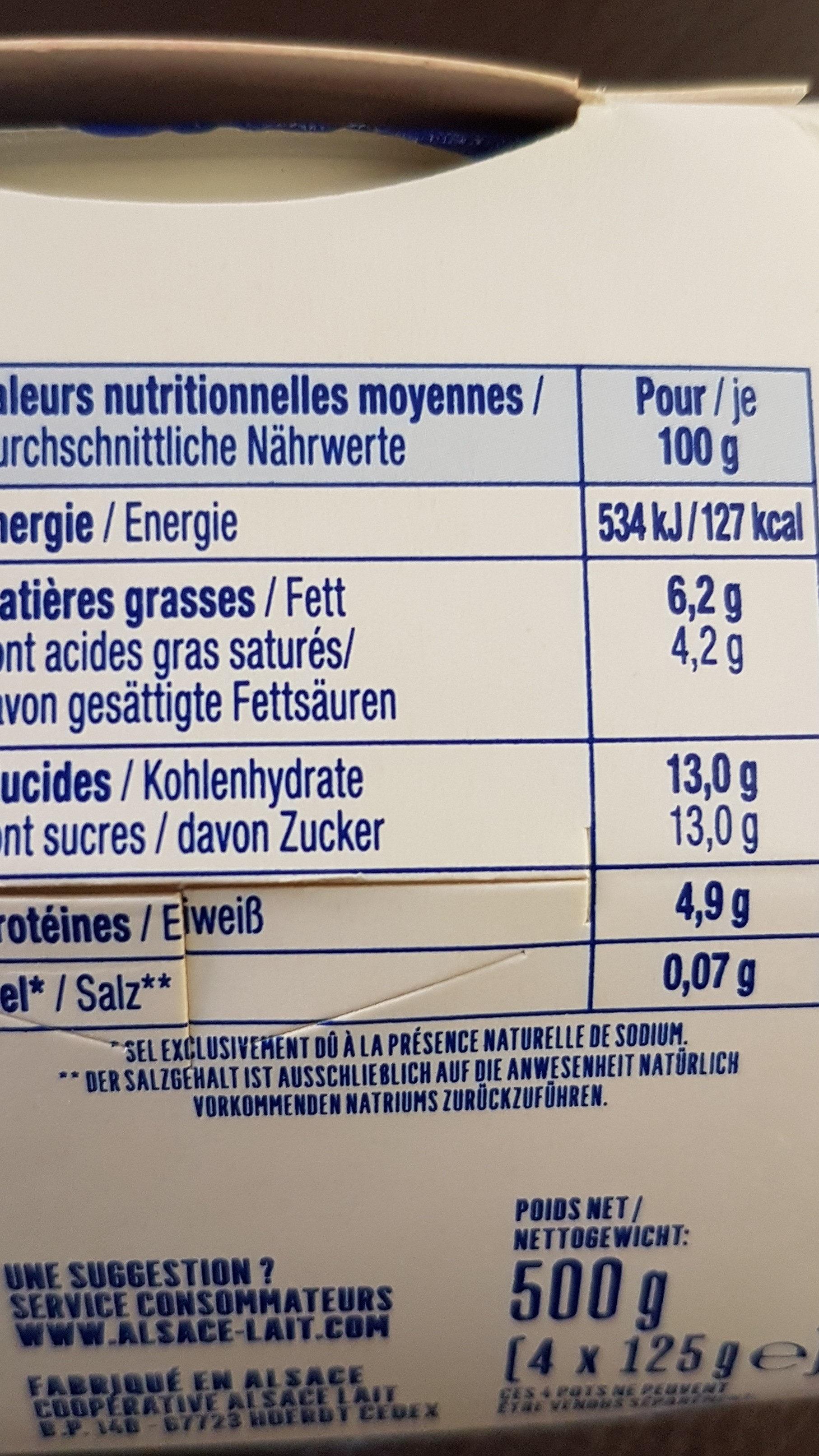 Fromage Blanc sur Lit de Quetsches Cannelle - Informations nutritionnelles