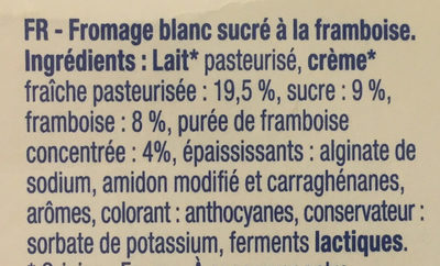 Fromage blanc framboise - Ingrediënten