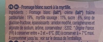 Bibelskaes Fromage blanc sur lit de myrtilles sauvages - Ingrédients
