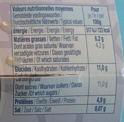 Bibelskaes sur lit de myrtilles sauvages - Informations nutritionnelles - fr