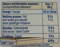 Bibeleskaes sur lit de mirabelles - Nutrition facts