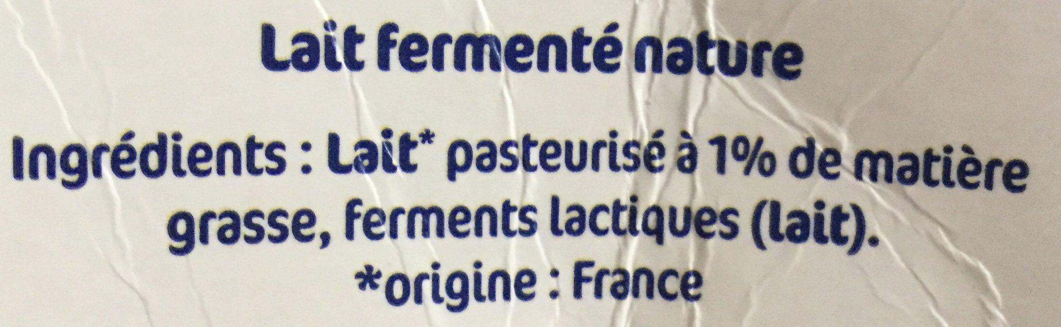 Lait fermenté - Ingredienti - fr