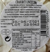 Chaource AOP (22% MG) - 250 g - Voedingswaarden - fr
