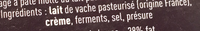 Le Délice de Bourgogne (Brillat-Savarin affiné) (38% MG) - Ingrediënten - fr