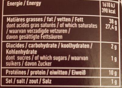 Le Délice de Bourgogne (Brillat-Savarin affiné) (38% MG) - Voedingswaarden - fr