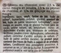 Gateau au cacao et pepites chocolat L'EPI - Ingrédients - fr