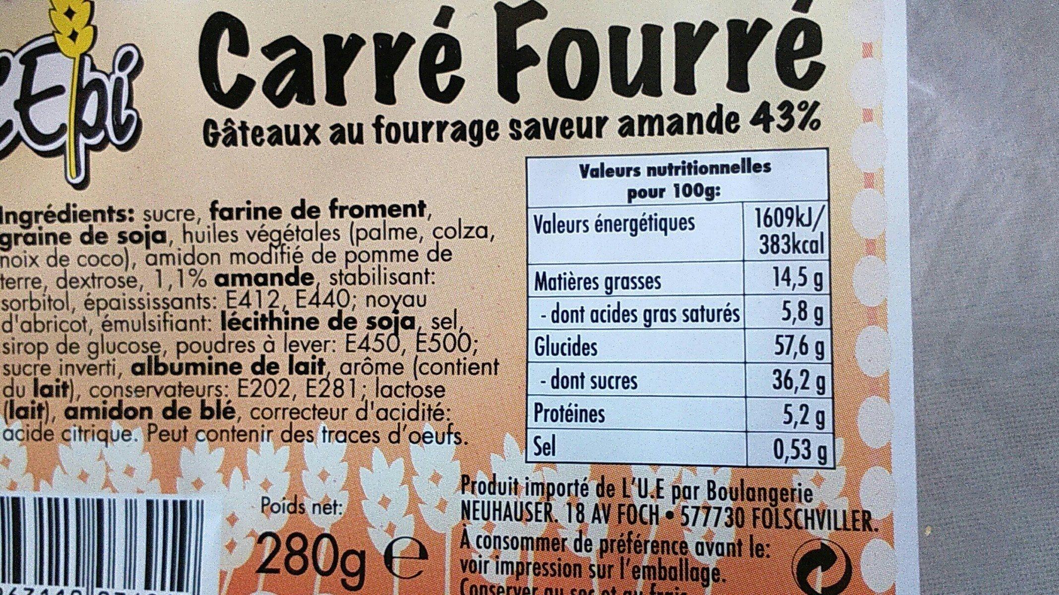 Gâteau carré fourré - Ingrediënten
