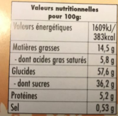 Gâteau carré fourré - Voedingswaarden