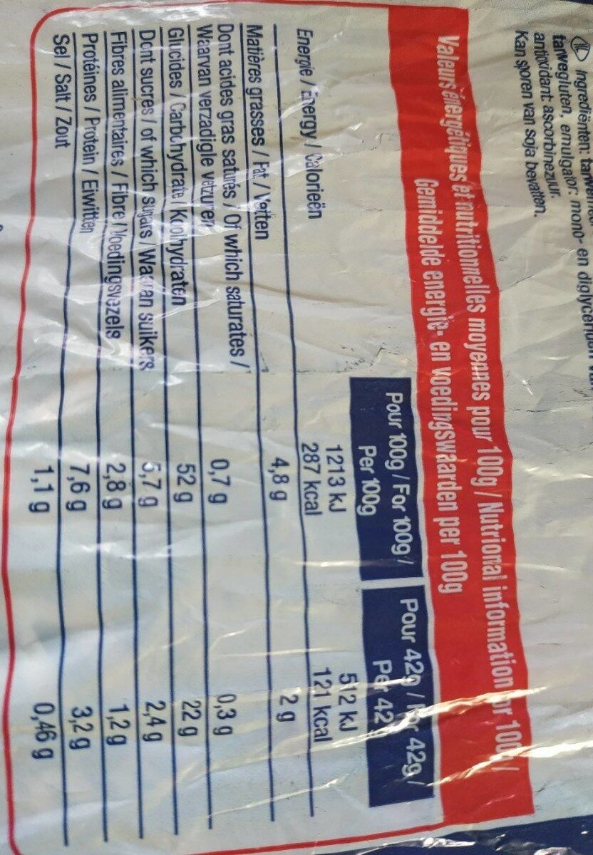 Pain de Mie en tranches - Voedingswaarden - fr