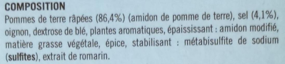 Galettes de pommes de terre de l'oncle Hansi - Ingrédients - fr