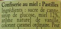 Pastilles au miel multifloral - Ingredients - fr
