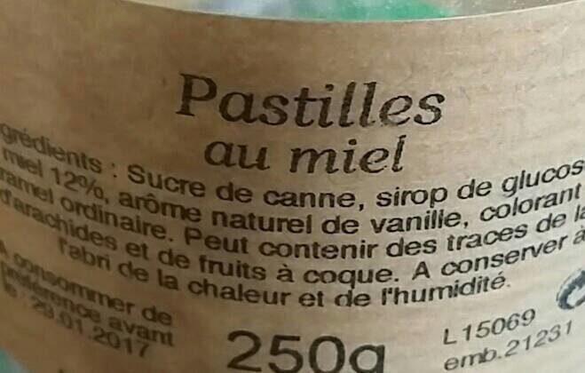 Pastilles au miel multifloral - Nutrition facts - fr