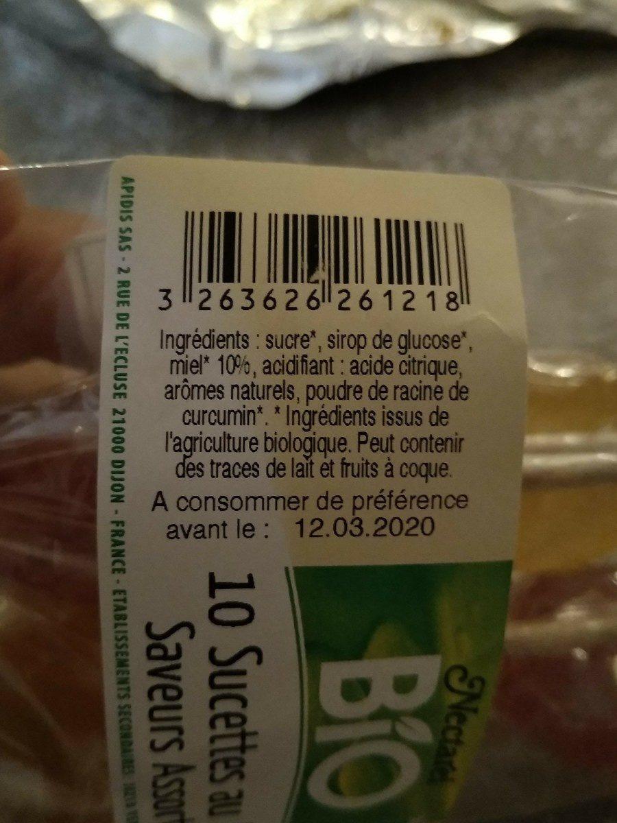 10 sucettes au miel saveurs assorties - Ingrediënten