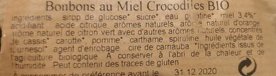 Confiseries au miel crocodiles bio - Ingredients - fr