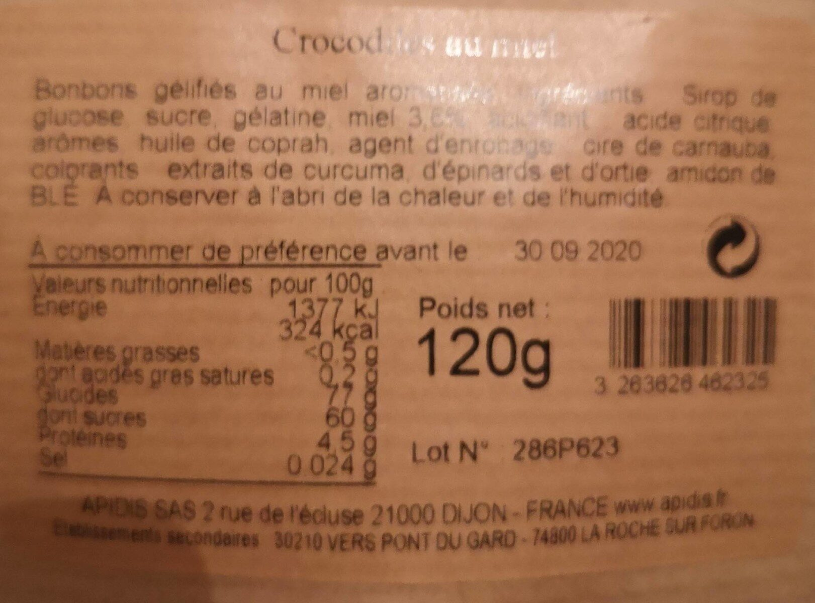 Bonbons Crocodiles - Informations nutritionnelles - fr
