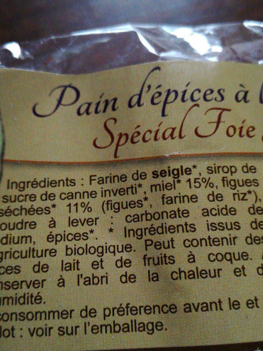 PAIN D'EPICES FIGUE SPECIAL FOIE GRAS - Ingrediënten - fr