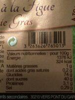 PAIN D'EPICES FIGUE SPECIAL FOIE GRAS - Voedingswaarden - fr