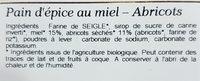 Pain d'épice au miel et abricot - Ingrédients - fr