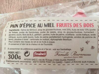 Pain D'épice Tranché Fruits Bois 300G - Ingredients - fr