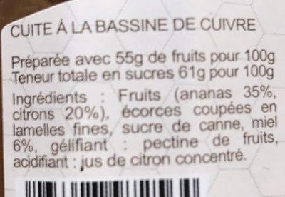 Confiture Ananas Citron - Ingredients